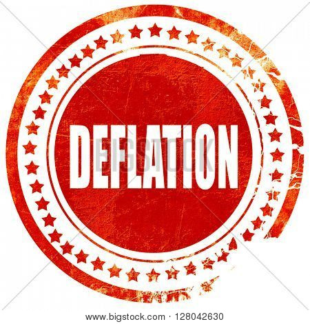 Deflation sign background, grunge red rubber stamp on a solid wh