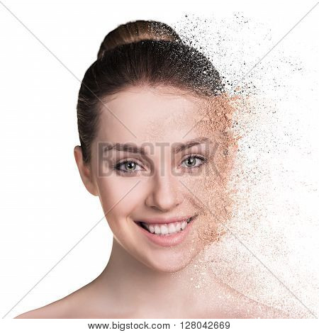 Woman and crumbly powder isolated on white background