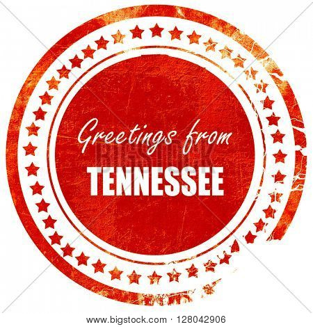 Greetings from tennessee, grunge red rubber stamp on a solid whi