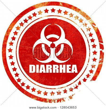 Diarrhea concept background, grunge red rubber stamp on a solid