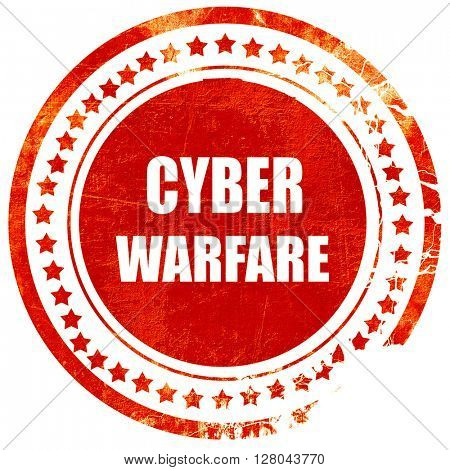 Cyber warfare background, grunge red rubber stamp on a solid whi