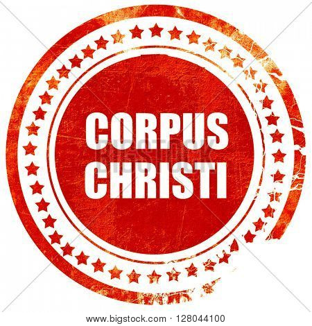corpus christi, grunge red rubber stamp on a solid white backgro