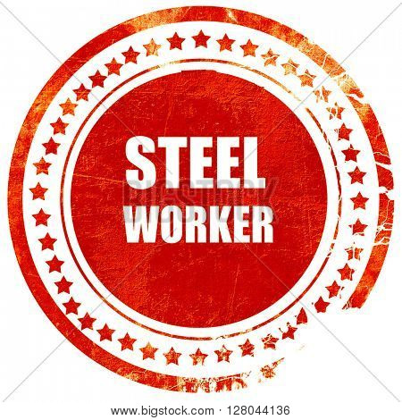Steel background with smooth lines, grunge red rubber stamp on a