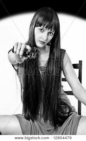 Very Dangerous Girl With Handgun (black And White)