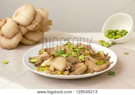 Oyster Mushroom Wiht Leek On The Plate