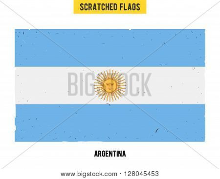 Argentine grunge flag with little scratches on surface. A hand drawn scratched flag of Argentina with a easy grunge texture. Vector modern flat design.