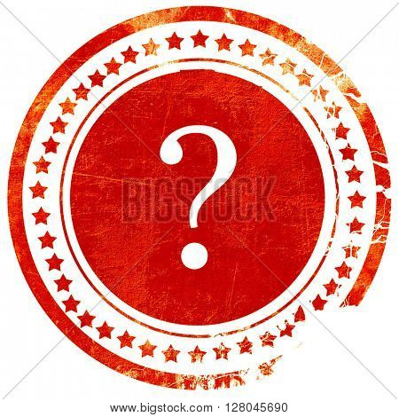 question mark, grunge red rubber stamp on a solid white backgrou