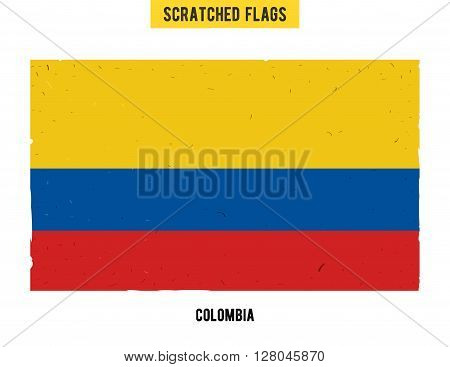 Colombian grunge flag with little scratches on surface. A hand drawn scratched flag of Colombia with a easy grunge texture. Vector modern flat design.