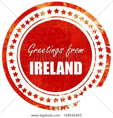 Greetings from ireland, grunge red rubber stamp on a solid white