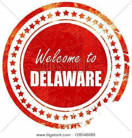 Welcome to delaware, grunge red rubber stamp on a solid white ba
