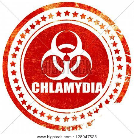 Chlamydia concept background, grunge red rubber stamp  on a solid white background