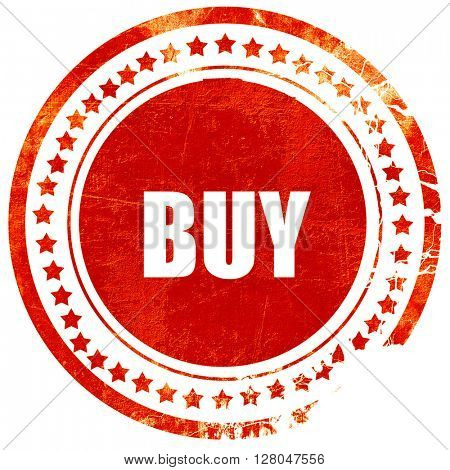 buy now sign, grunge red rubber stamp on a solid white background