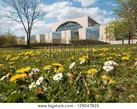 Federal Chancellery with flower meadow in Berlin Germany