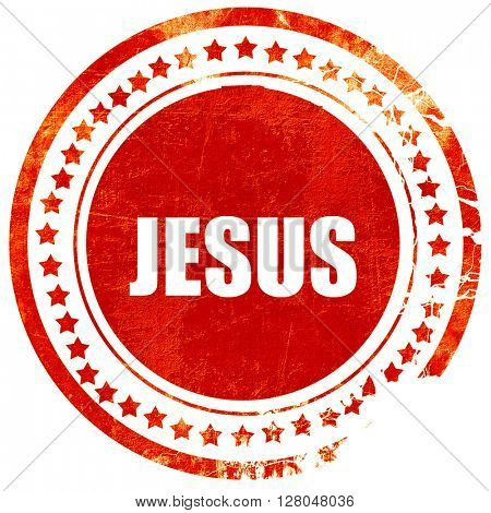 jesus, grunge red rubber stamp on a solid white background