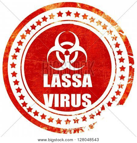 Lassa virus concept background, grunge red rubber stamp on a solid white background