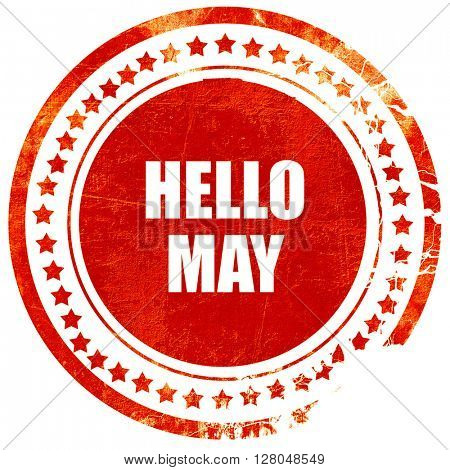 hello may, grunge red rubber stamp on a solid white background
