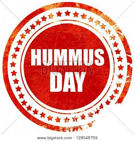 hummus day, grunge red rubber stamp on a solid white background