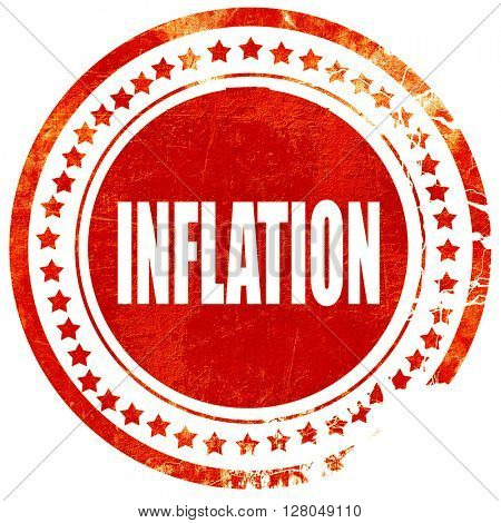 Inflation sign background, grunge red rubber stamp on a solid wh