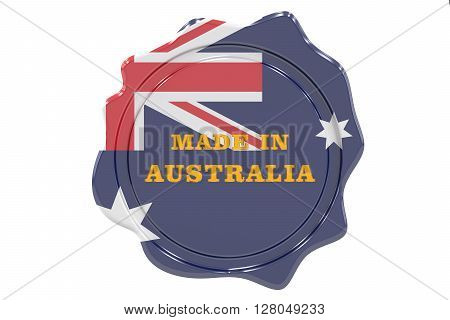 made in Australia seal stamp. 3D rendering