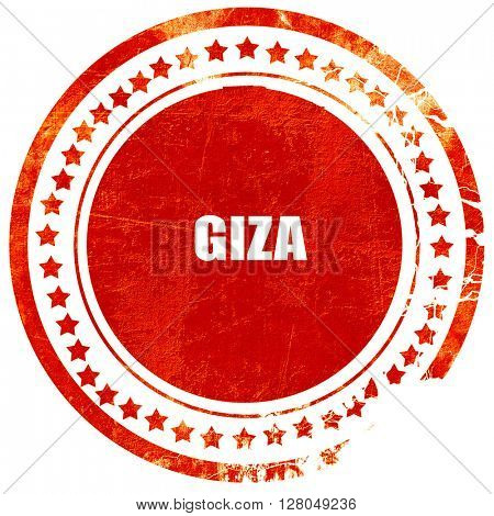 giza, grunge red rubber stamp on a solid white background
