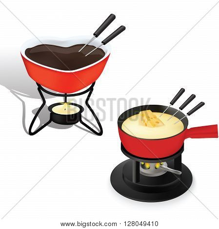 Fondue for cooking and food melting, food background