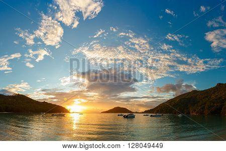 sunset on the coast of Mahe, Seychelles 2013