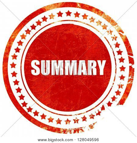 summary, grunge red rubber stamp on a solid white background