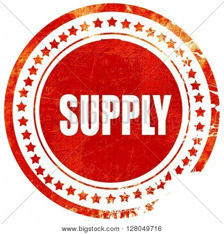 supply, grunge red rubber stamp on a solid white background
