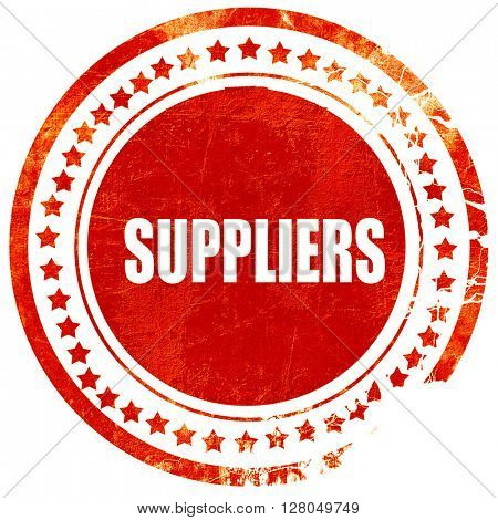 suppliers, grunge red rubber stamp on a solid white background