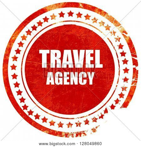 travel agency, grunge red rubber stamp on a solid white background