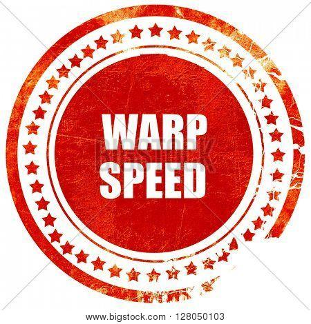warp speed, grunge red rubber stamp on a solid white background