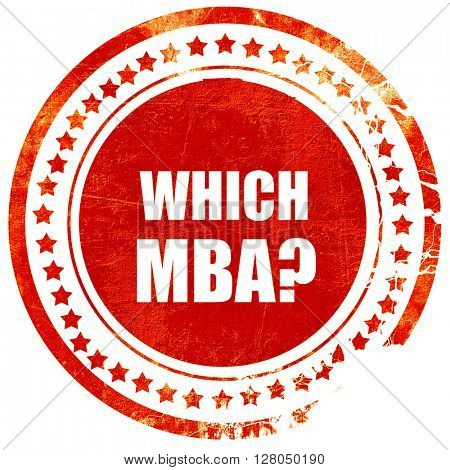 which mba, grunge red rubber stamp on a solid white background