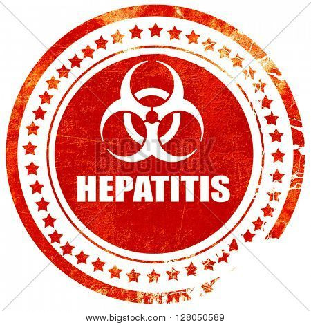Hepatitis virus concept background, grunge red rubber stamp on a