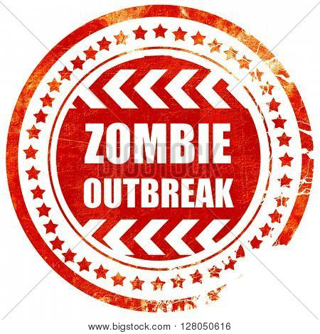 zombie virus concept background, grunge red rubber stamp on a so
