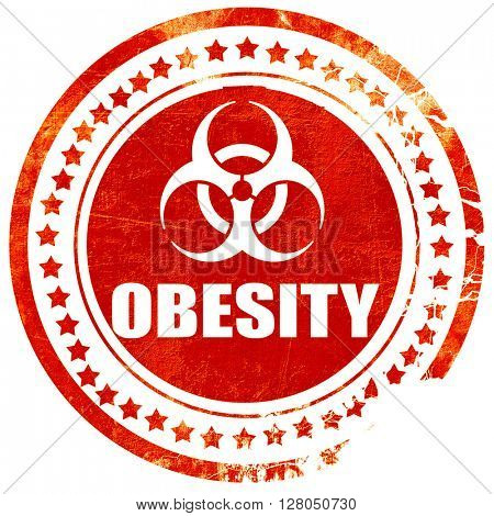 Obesity concept background, grunge red rubber stamp on a solid w