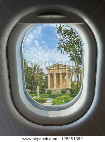 porthole and landmark Monument to Sir Alexander Ball in the Lower Barrakka Gardens Valletta Malta