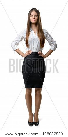 Front view of cutout businesswoman looking directly at the camera. Successful lifestyle. Business staff. Office clothes. Dress code. Presentable appearance. Beauty and youth.