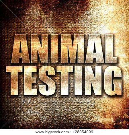 animal testing, written on vintage metal texture