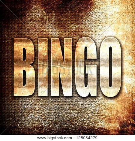 bingo, written on vintage metal texture