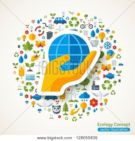Hand holding globe symbol flat sticker and ecology icons. Vector concept illustration with icons of  environment, green energy and pollution. Save the planet. Eco Technology.