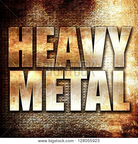 heavy metal music, written on vintage metal texture
