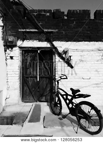 Drawing old bicycle and brick wall, black and white bicycle, background old bicycle and door