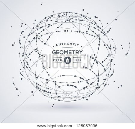 Wireframe mesh broken spherical element. Sphere with connected lines and dots. Connection Structure. Geometric Modern Technology Concept. Digital Data Visualization. Place for text message