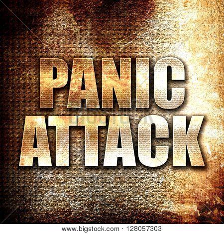 panic attack, written on vintage metal texture