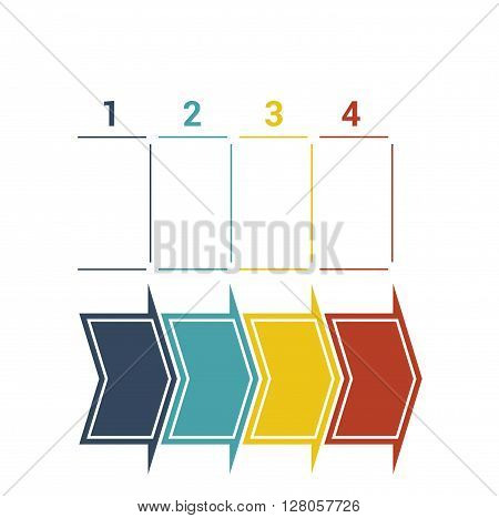Timeline with colored horizontal arrows numbered for four position on white background.