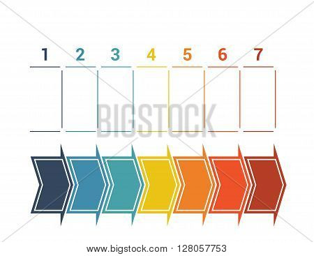 Timeline with colored horizontal arrows numbered for seven position on white background.