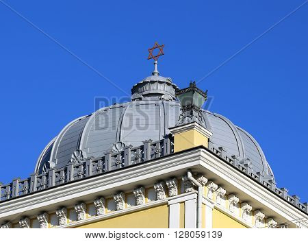 Dome of Synagogue topped with a Star of David