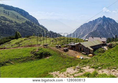 Summer mountains landscape rural scenic in the Rofan mountains. Alps Austria Tirol.