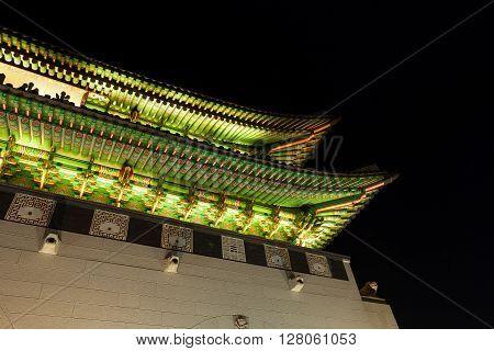 Gyeongbokgung Palace Gate Shot At Night - Seoul, Republic Of Korea