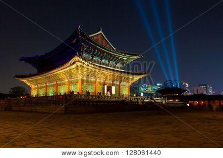Seoul, South Korea - August 14, 2015: Gyeongbokgung Main Palace At Night -  Seoul, South Korea